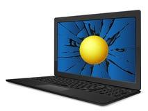 Cracked laptop handball Royalty Free Stock Photography