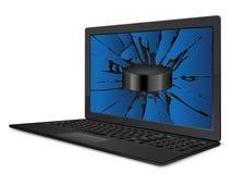 Cracked laptop hockey Royalty Free Stock Images