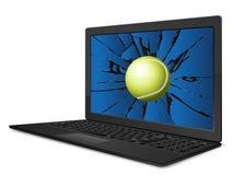 Cracked laptop tennis Stock Photography