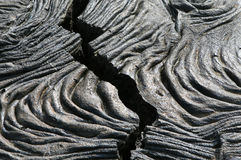 Cracked Lava. A crack in the lava fields of the Galapagos Islands Royalty Free Stock Photography