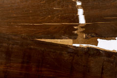 Cracked Layers On Old Dark Painted Plywood Royalty Free Stock Photo