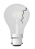 Cracked light bulb. An illustration of a cracked light bulb Royalty Free Stock Photo