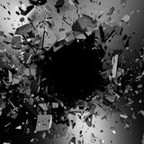 Cracked metallic wall surface with explosion demolition hole Royalty Free Stock Photos