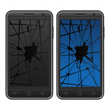Cracked mobile phone Stock Image