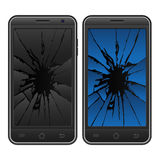 Cracked mobile phone Stock Photos