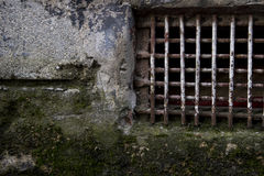 Cracked Mossy Wall With Rusty Lattices Royalty Free Stock Photography