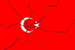 Cracked national flag of the Turkey Stock Photography
