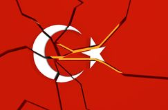 Cracked national flag of the Turkey. Image relative to politic situation in Turkey. Broken national flag. 3d rendering stock photos