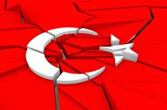 Cracked national flag of the Turkey Royalty Free Stock Photography