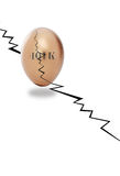 Cracked nest egg and 401k Stock Image