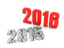 2016 cracked 2016. New year Vector Illustration