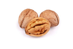 Cracked and not cracked Walnut group isolated Stock Photos