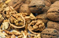 Cracked nuts stock image