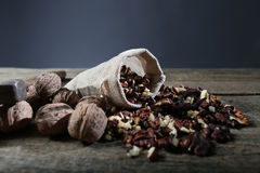Cracked nuts in a sack Royalty Free Stock Photography