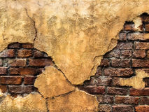 Cracked Old Vintage Brown Concrete Wall with Brick Background Texture, High Contrast Stock Photography