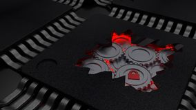 Cracked open CPU reveals red gears mechanism cybersecurity conce. Pt 3D illustration Stock Images