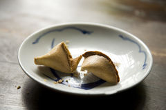 Cracked Opened Fortune Cookies Royalty Free Stock Photo