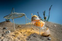 Cracked over roasted egg lying down on bed on the sunny fake beach royalty free stock photos