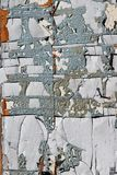 Cracked paint pieces on an old wooden aged rural shed surface. Stock Image