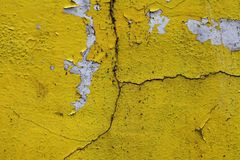 Cracked paint wall texture yellow Royalty Free Stock Images