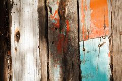 Cracked Pastel color vintage wooden textures under strong light and shadow Stock Images