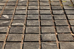 Cracked paving wooden walkway Royalty Free Stock Photo