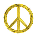Cracked peace sign broken symbol. Isolated shattered gold peaceful symbol. Metaphor for war, conflict, violent, stress or danger. Additional PNG format with Royalty Free Stock Photos