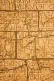 Cracked plaque with Latin inscriptions and Roman letters. Royalty Free Stock Photos
