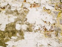 Cracked plaster with peeling paint Stock Photos