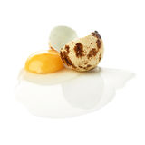 Cracked raw quail egg with yolk isolated over white background Stock Photo