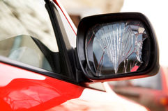 Cracked rear-view mirror Royalty Free Stock Photography