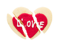 Cracked red heart cookie isolated on white background Stock Photography