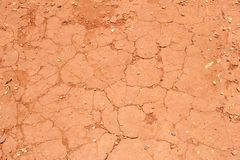 Cracked red soil after a period of drought Royalty Free Stock Photos