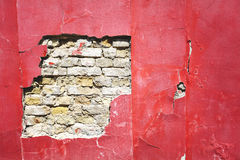 Cracked red wall Royalty Free Stock Photography