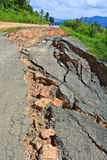Cracked road. Is destroyed from the heavy trucks Stock Images