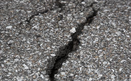 Cracked road on asphalt Stock Image