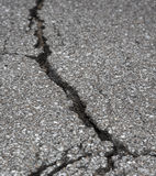 Cracked road on asphalt Stock Photography