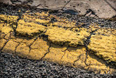Cracked Road Marking Royalty Free Stock Photo
