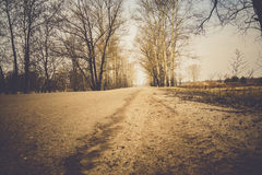 Cracked Rural Road Filtered. Old cracked, damaged asphalt road in countryside, vintage colors Royalty Free Stock Photo