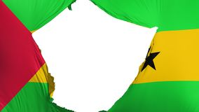 Cracked Sao Tome and Principe flag. White background, 3d rendering royalty free illustration