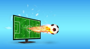 Cracked Screen Television with Football and fire over screen. A Cracked Screen Television with Football and fire over screen Stock Photography