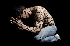 Cracked skin man Royalty Free Stock Photo