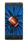 Cracked smart phone american football Royalty Free Stock Image