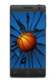 Cracked smart phone basketball Stock Photography