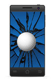 Cracked smart phone golf Stock Photo