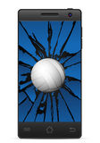 Cracked smart phone volleyball Stock Image