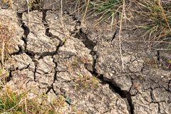 Cracked soil close up shot on natural light royalty free stock photo