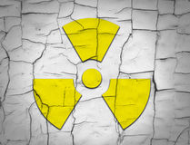 Cracked soil and radiation symbol Stock Photography