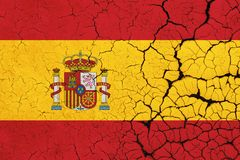 Cracked Spain Flag - Crisis vector illustration