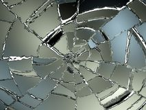 Cracked and Splitted glass on white Stock Photo